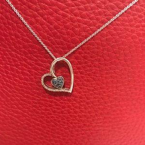 Blue & White Diamond Floating Heart Necklace
